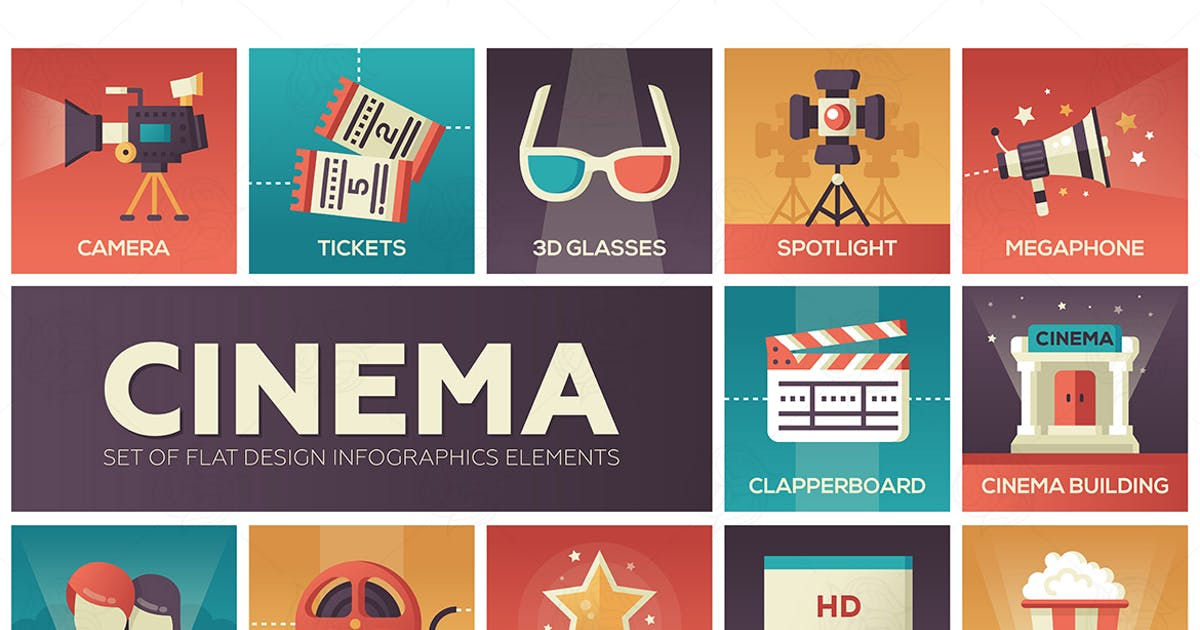 Download Cinema and movie - vector modern flat design icons by BoykoPictures