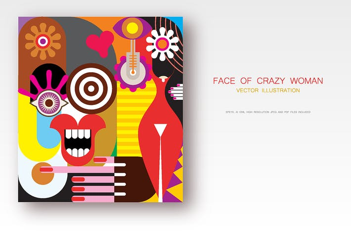 Thumbnail for Illustration Vecteur Face of One Crazy Woman