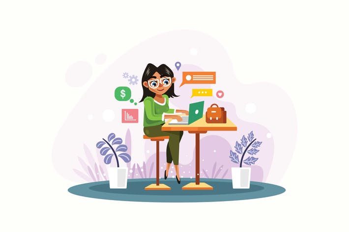 Thumbnail for Woman is Working with Laptop Vector Illustration