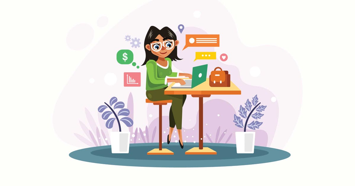 Download Woman is Working with Laptop Vector Illustration by IanMikraz