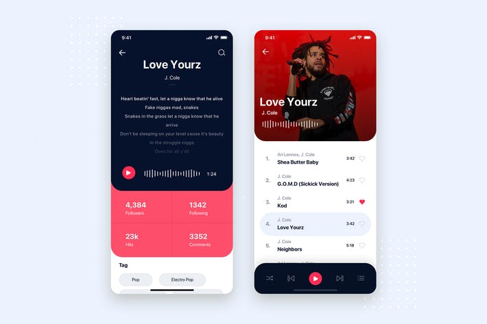 Thumbnail for Music Mobile App UI Kit Template