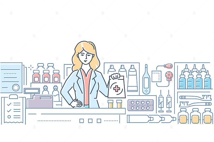 Thumbnail for Farmacia - ilustración de estilo de diseño de línea colorida