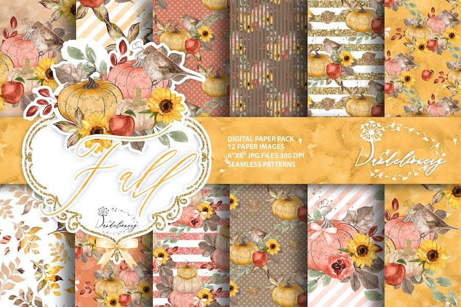 Fall Pumpkin digital paper pack