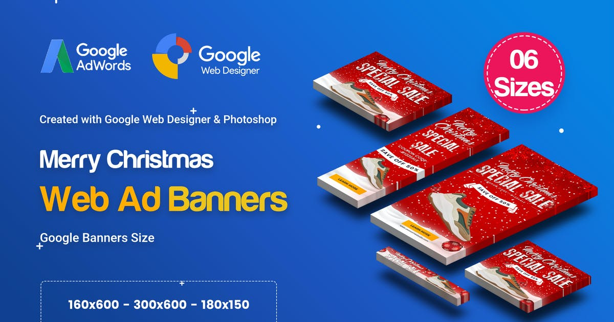 Download C85 - Merry Christmas Banners HTML5 Ad (GWD & PSD) by iDoodle