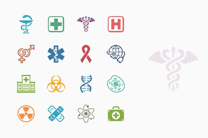 Cover Image For Medical & Health Care Icons Set 1 - Colored Series