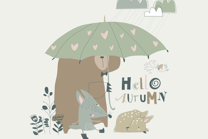 Thumbnail for Funny animals under umbrella. Autumn time. Rainy