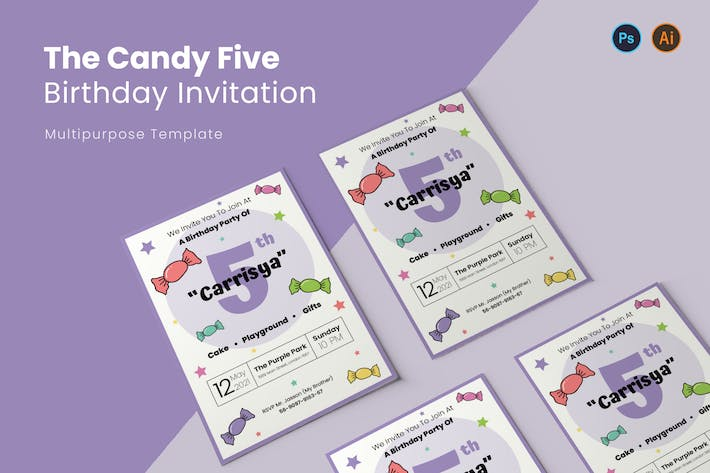 Thumbnail for Candy Five Birthday Invitation
