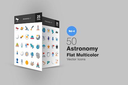 50 Astronomie Flache Multicolor Icons