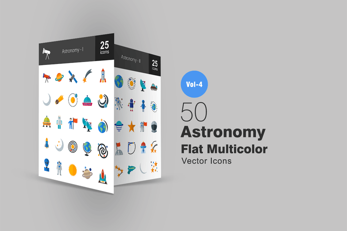 Thumbnail for 50 Astronomie Flache Multicolor Icons