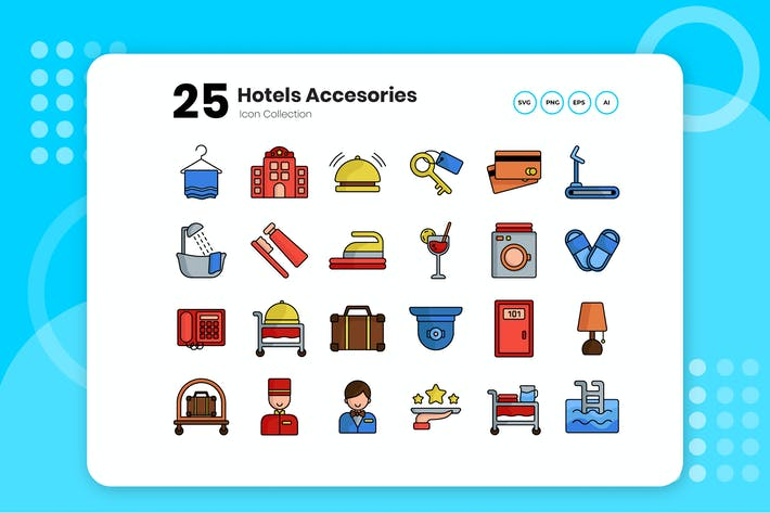Thumbnail for 25 Hotel Color Icon Set