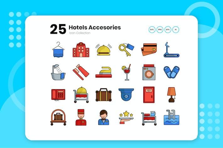 Thumbnail for Набор цветных значков отеля 25