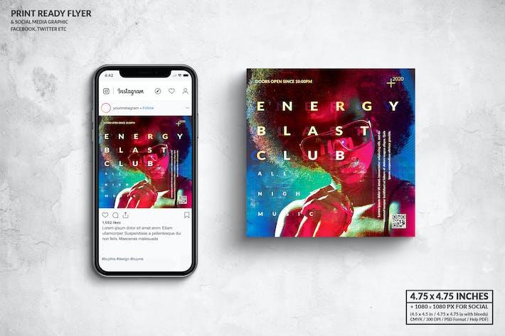 Thumbnail for Energy Blast Music Square Flyer & Social Media