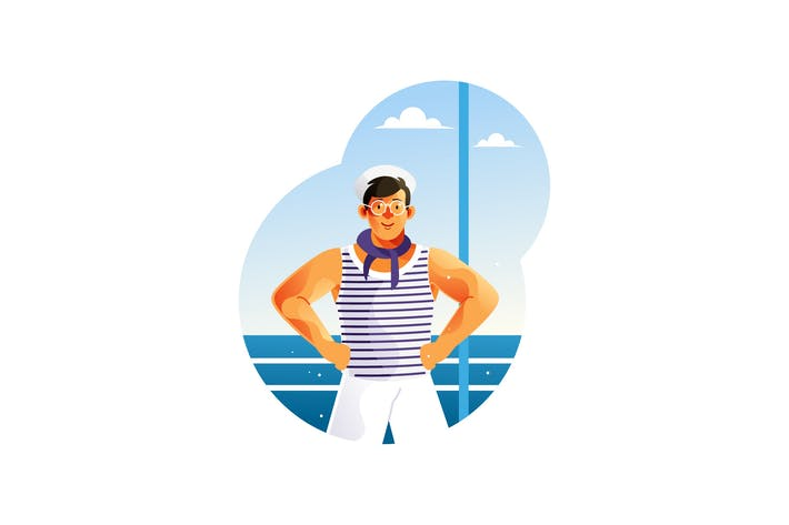 Thumbnail for Young sailors on a ship Vector Illustration