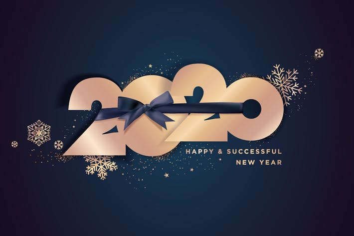 Thumbnail for Happy New Year 2020 business greeting card