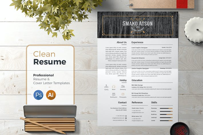 Cover Image For Resume Template Retro 01
