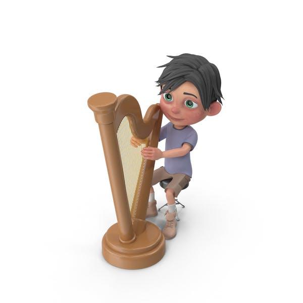 Cartoon Boy Jack Playing Harp