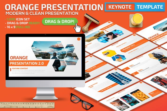 Thumbnail for Orange Keynote Presentation Template