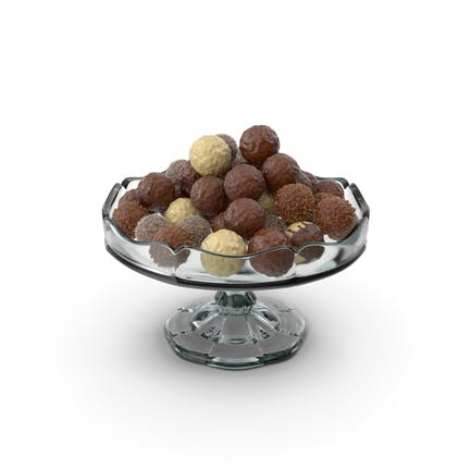 Fancy Glass Bowl with Mixed Chocolate Balls