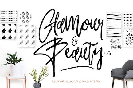 Glamour Font+ 90premade Logo+Pattern