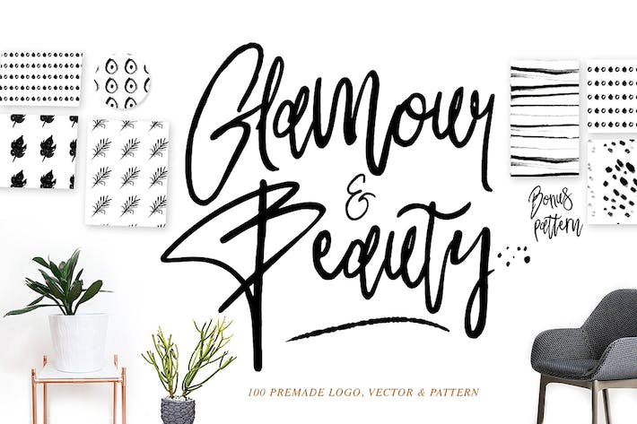 Thumbnail for Glamour Font+ 90premade Logo+Pattern