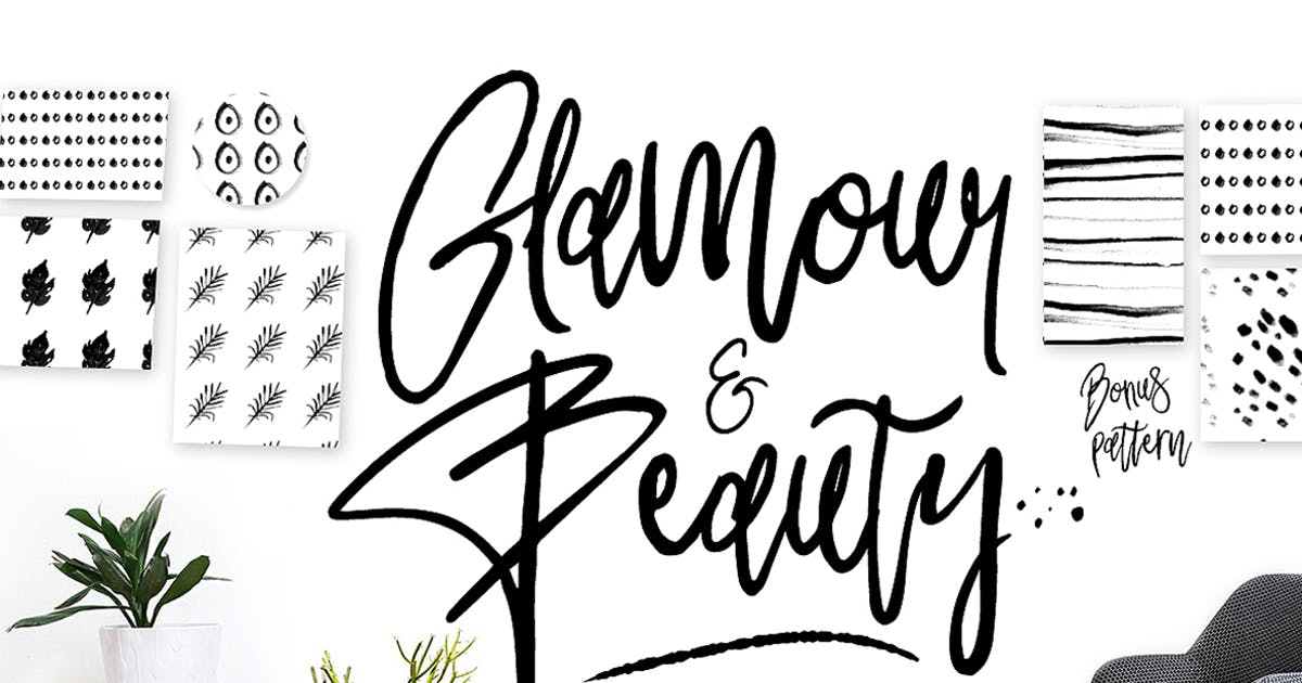 Download Glamour Font+ 90premade Logo+Pattern by celciusdesigns