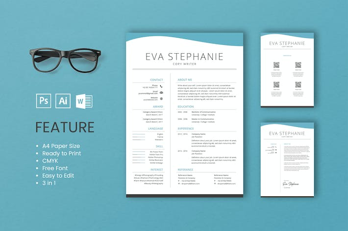 Thumbnail for Professional CV And Resume Template Eva