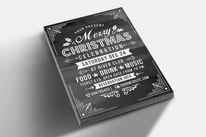 Thumbnail for Christmas Celebration Flyer Chalk Style