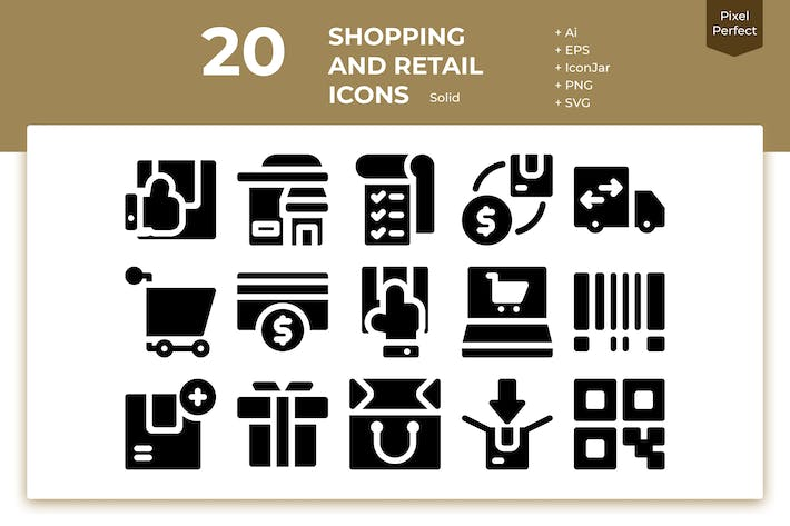 Thumbnail for 20 Shopping and Retail Icons (Solid)