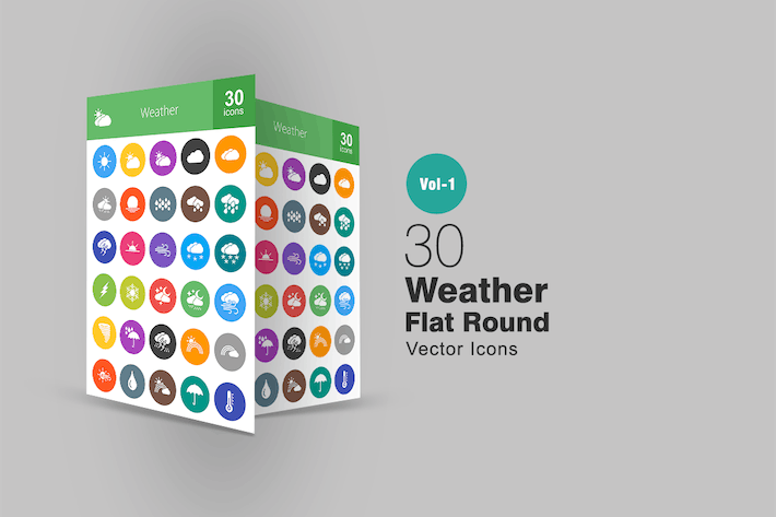 Thumbnail for 30 Weather Flat Round Icons