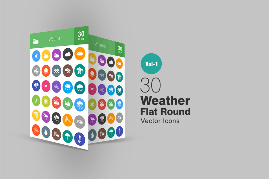 30 Wetter Flache Runde Icons