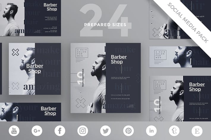 Thumbnail for Barbershop Haircut Social Media Pack Template