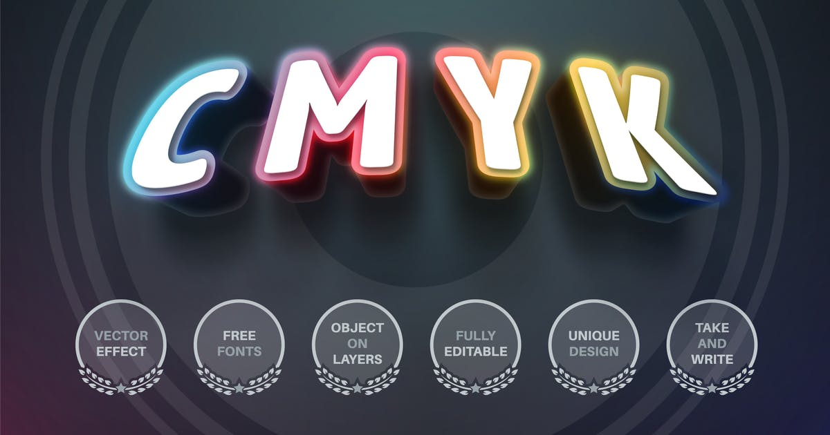 Download CMYK color - editable text effect,  font style by rwgusev