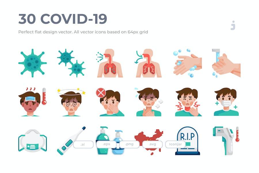 30 Covid-19 Icon set - Flat