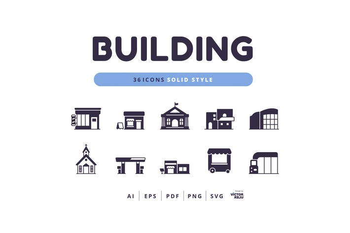 Thumbnail for 36 Icons Building Solid Style