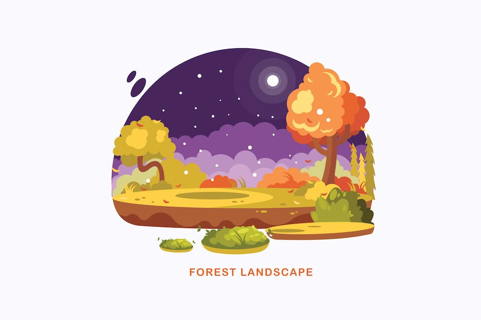 Download Forest Landscape Vector Illustration by IanMikraz