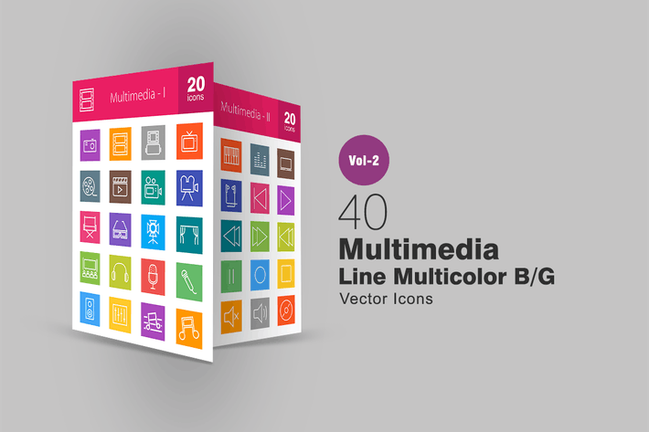 Thumbnail for 40 Multimedia Line Multicolor Icons