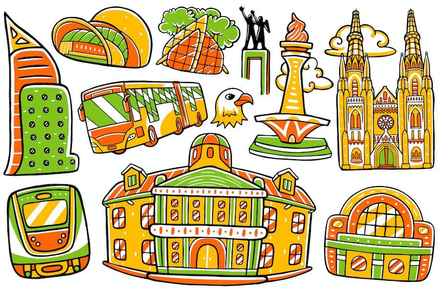 Jakarta City Doodle Vector #01