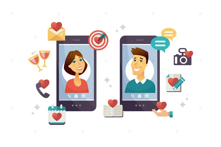 Thumbnail for Online dating app - vector illustration