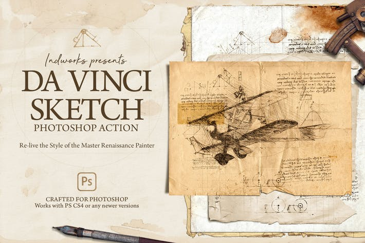 Thumbnail for Da Vinci Sketch Photoshop Action