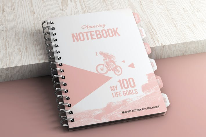 Thumbnail for Spiral Notebook With Tabs Mockup
