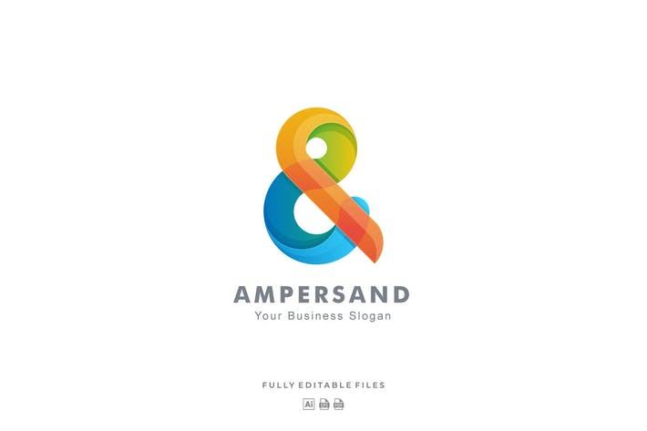 Thumbnail for Abstract Ampersand Color Gradient Logo Template