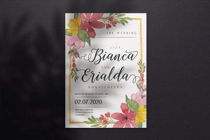 Watercolor Wedding Invitation A4 - Style 05
