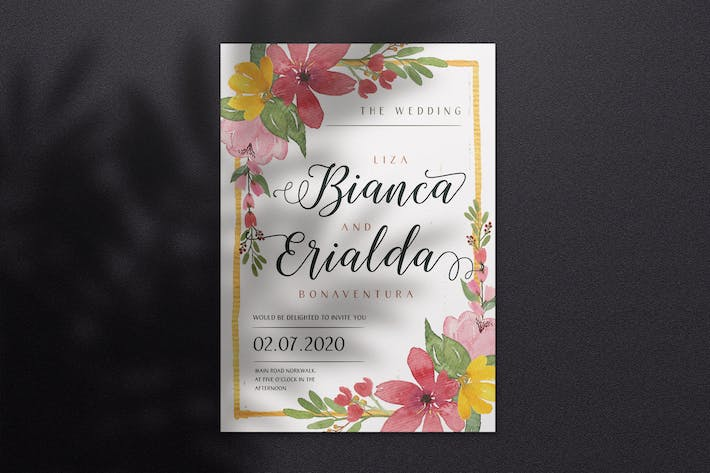 Thumbnail for Watercolor Wedding Invitation A4 - Style 05