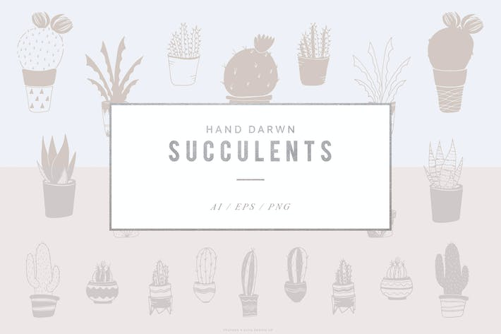 Thumbnail for Hand Drawn Succulent Illustration Set
