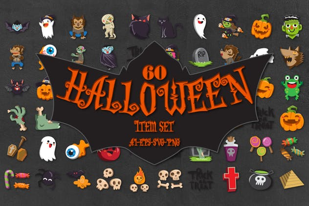60 Halloween Cute Characters - product preview 0
