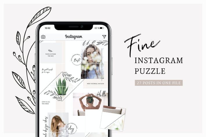 Thumbnail for Fine Instagram Puzzle Template