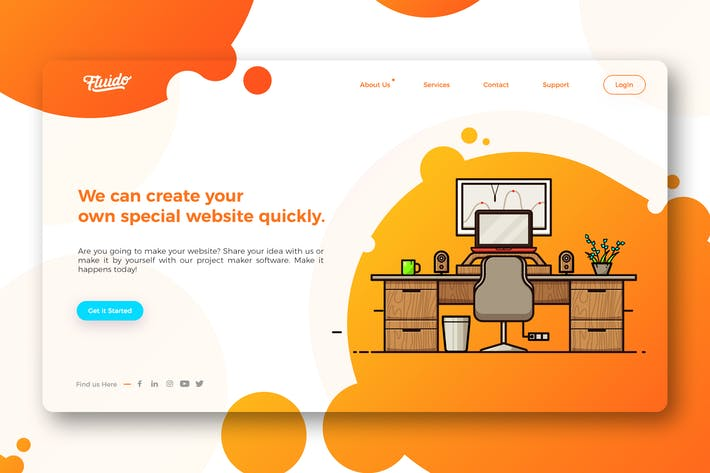 Thumbnail for Colorful website hero header template