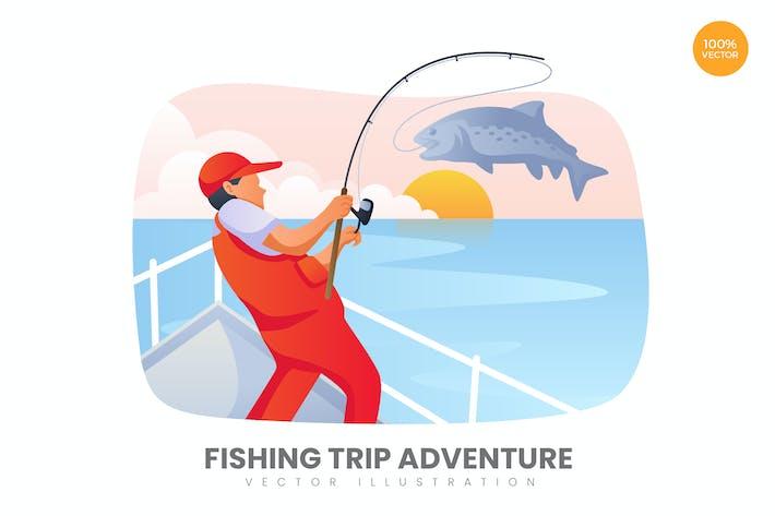 Excursion de Pêche Aventure Vecteur Concept Illustration