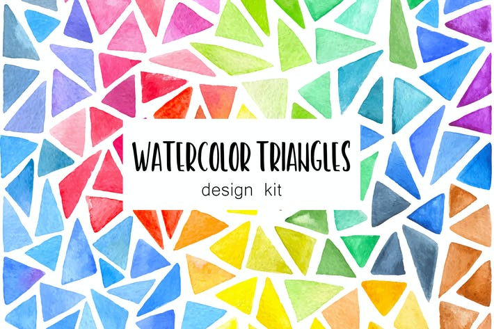 Thumbnail for Watercolor Triangles Design Kit