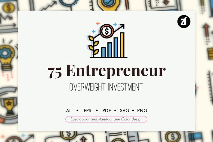 Thumbnail for 75 Entrepreneur elements in line color design